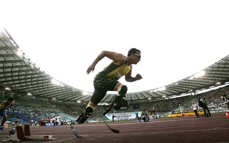 South African amputee sprinter Oscar Pistorius